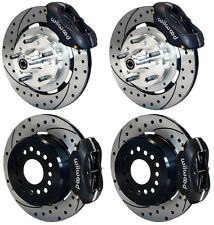 "WILWOOD DISC BRAKE KIT,59-64 IMPALA,BEL AIR,12"" DRILLED ROTORS,BLACK CALIPERS"