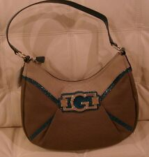 NEW WT GUESS MEDIUM HOBO PURSE SHOULDER  BAG TOTE BROWN GRAY BLUE SNAKE LEATHER