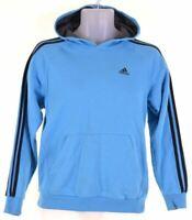 ADIDAS Boys Hoodie Jumper 13-14 Years Blue Cotton  M002