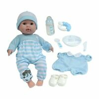 JC Toys Doll Soft Body. Blue. With Accessories Various. Open and Close Eyes, Mul