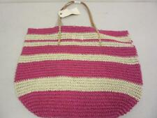 Merona Target Leather Straw Beach Tote Bag Purse Pink Metallic Paper/Leather
