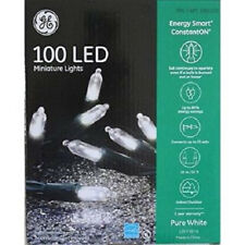 GE 100 LED Miniature Lights Energy Smart Pure White Holiday Party 33 Ft