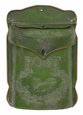 CREATIVE CO-OP VINTAGE FRENCH GARDEN STYLE GREEN METAL TIN POST WALL MAILBOX