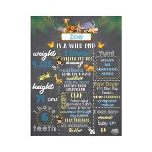 Personalised Wild One Safari Baby 1st Birthday Board| Milestones | Chalkboard |