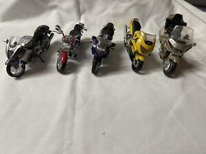 Maisto Mixed Lot Of 5 Honda Suzuki Yamaha Diecast Motorcycles 1:18