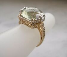 14K YELLOW GOLD 7.30 CT GREEN FACETED AMETHYST AND DIAMOND RING