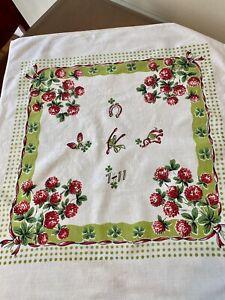 Vintage STARTEX St. Patrick's Day Shamrock Lucky Green Tablecloth Dish Towel