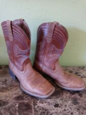 Men's Ariat Square Toe Western Boots Style 10015312 Tan w/Blue Stitch Size 9D