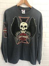 Harley Davidson Long Sleeve Shirt Skull Graphic Shirt Medium