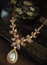 Crystal Flower with Pearl Drop Beautiful Vintage Necklace with Light Amethyst