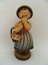 """Anri 3.25"""" Carved Wood Girl Smelling Edelweiss Designed By Juan Ferrandiz"""