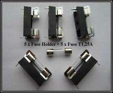 Frase portafusible Fuse holder 5x20 + copia de seguridad Fuse t 1,25a 5 piezas