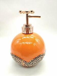 Ceramic Antique Tap Nozzle Design Liquid Soap Dispenser Orange 350 ml