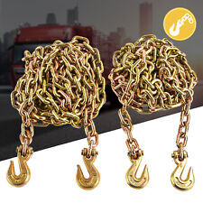 """2 Pack 3/8"""" x 20' G70 Tow Chain Tie Down Binder With Hooks Trailer Flatbed Truck"""