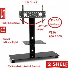 TV Stand With Swivel Bracket, 32 - 55 inch TVs, Cantilever Floor 2 Glass Shelves