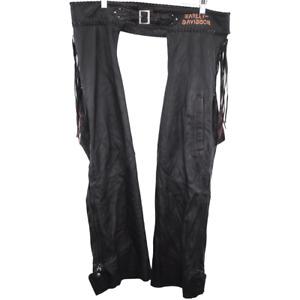 O245 Vintage Harley Davidson Motorcycles Chaps Tassels Black Men's Size XL