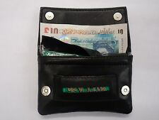 Leather Tobacco Pouch Organizer Black with Space for Money Cards Magnetic Button