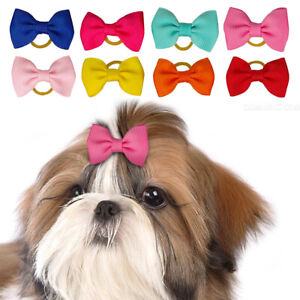 50/200pcs Pet Cat Dog Grooming Hair Bows Rubber Band Accessories Topknot Yorkie