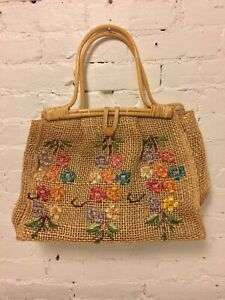 Large Woven Tote 1960/'s Large Basket Tote Vintage Straw Tote with raffia Embroidered seagull Vintage Beach Tote