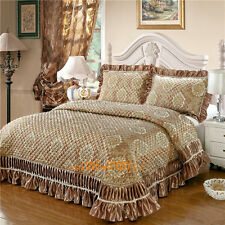 Golden Super King Bed Patchwork Quilted Bedspreads Coverlet Set Embroider Lace