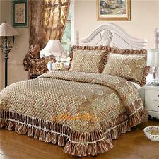 Golden Super King Bed Patchwork Quilted BedSpreads Coverlet Set Embroider Lace
