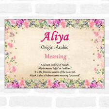 Aliya Name Meaning Floral Certificate