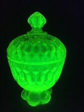 Vaseline/Uranium Glass Lidded Bowl Bon Bon Dish (ref B082)