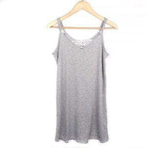 Tahari Women's S Lace Trim Soft Knit V-Neck Cami Strap Gray Mini Sleep Dress