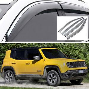 Car Window Visor Vent Deflector Sun/Rain Guard Set for Jeep Renegade 2015-2020