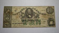 $10 1864 Montgomery Alabama AL Obsolete Currency Confederate Bank Note Bill! VF+