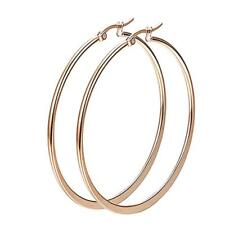 Women Gold Silver, Metal Big Circle Smooth Large Ring Hoop Earrings Multi Size