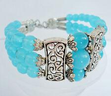 breiter Schmuck Armreif, Jade, hell blau, 3-reihig, Tibet Silber, Armband, NEU