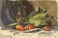 E.F.L., Artichoke & Oranges Still Life – Original 1882 watercolour painting