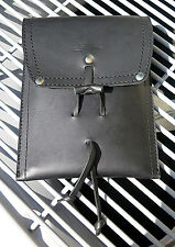 Saddleback Leather POUCH WITH STRAP Black Smooth Pigskin Lining Script Logo