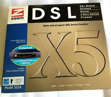 Zoom DSL ADSL Model 5654  X5 Modem Gateway Router Firewall 4 port switch