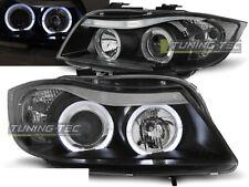 Coppia di Fari Anteriori per BMW Serie 3 E90 E91 2005-2008 Angel Eyes Neri IT LP