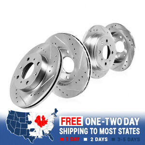 For 2012 2013 2014 - 2016 Fiat 500 Front & Rear Drilled Slotted Brake Rotors