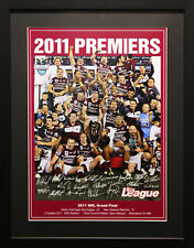 MANLY WARRINGAH SEA EAGLES SIGNED PREMIERS 2011 PHOTO POSTER SIGNED AND FRAMED