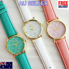 Luxury Gold Soft Pink White Green Wristwatch Women Leather Analog Quartz Hot
