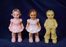 Lot 3 CUTE Vintage 40's 50's Irwin Plastic Dolls 2 Girls 1 Boy DOLLHOUSE SIZE