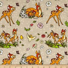 Disney Bambi Birds and Flowers FLANNEL Cotton Quilting Fabric 1/2 YARD