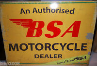 BSA DEALER  ANTIQUE-FINISH METAL WALL SIGN 40x30cm BRITISH BIKER/ACE CAFE/BANTAM