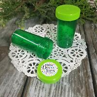 12 Screw Top Green Pill Bottles Snack Candy JAR party Favors  #3814 DecoJars USA