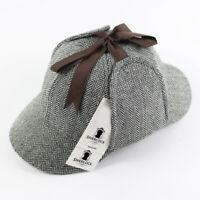 Sherlock Holmes Classic Deerstalker Cap Herringbone Tweed Wool 6 Panel Men Hat