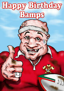 PERSONALISED WELSH RUGBY PLAYER -Humourous- GREETING CARD ANY RELATION - R35