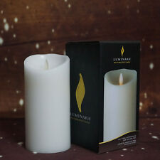 "LUMINARA Flicker Flame Effect Mildly Scented Candle Set 7"" with Remote White"