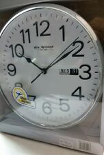 Wm Widdop Silent Sweep Second Hand Bold Numbers Wall Clock with Day & Date W7810