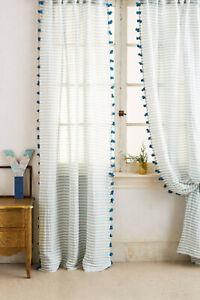 "NWT PAIR (2) 84"" x 50 Anthropologie Pom Tassel Curtain Panels Blue Stripe Pompom"