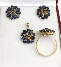 14k Solid Yellow Gold Flowers Set Earrings Ring Pendant, Natural Sapphire. 7.69G