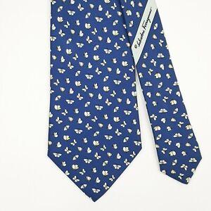 SALVATORE FERRAGAMO TIE Butterfly on Dark Blue Classic Silk Necktie